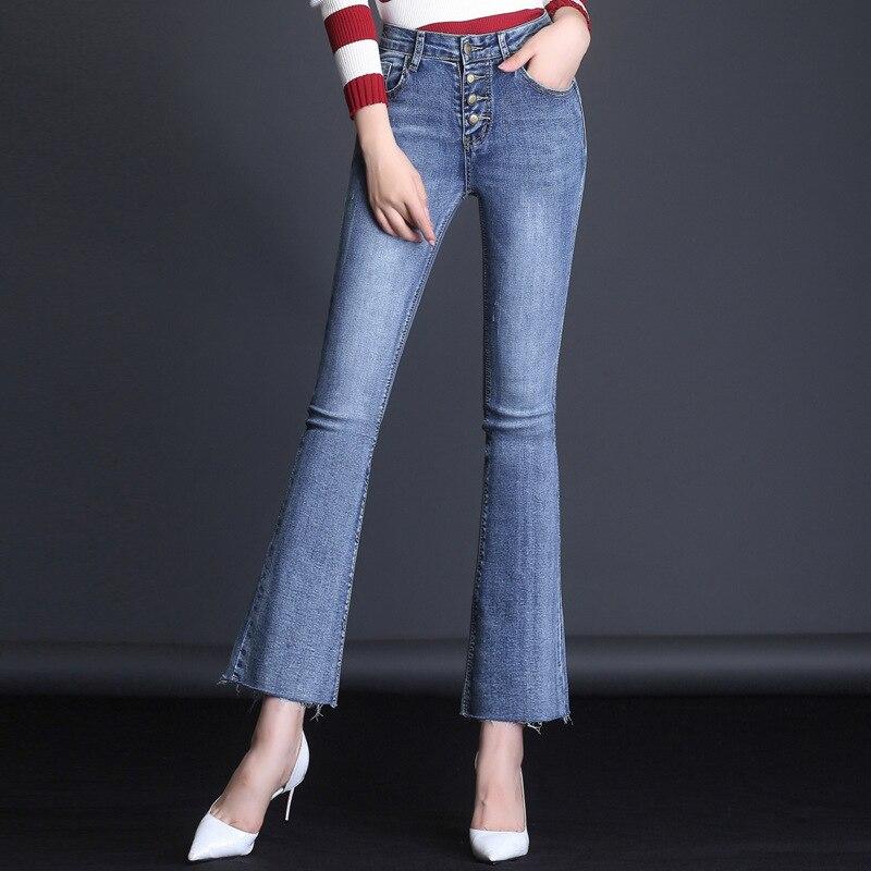 Мама очень проблемных укороченные джинсы Для женщин синий вырезать узкие джинсовые штаны 2018 осень середины талии сексуальные пуговицы ...