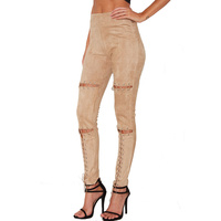 Sexy Eyelet Lace Up Pants Women Suede Skinny Pencil Pants Nightclub High Elastic Waist Casual Long