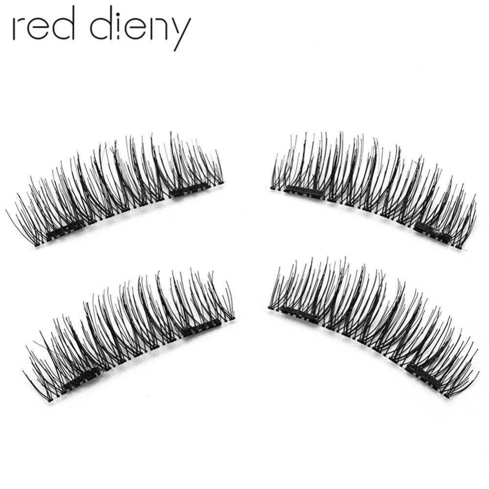 Pro 4Pcs/Pair Magnetic Eyelashes Maquiagem False Lashes Natural Long Reusable 3D Double Magnet Fake Eyelashes Extension Tool