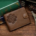 Nesitu Hot Sale High Quality Coffee Color Best Gift For Husband 100%  Genuine Leather Designer Men Wallets #M8018