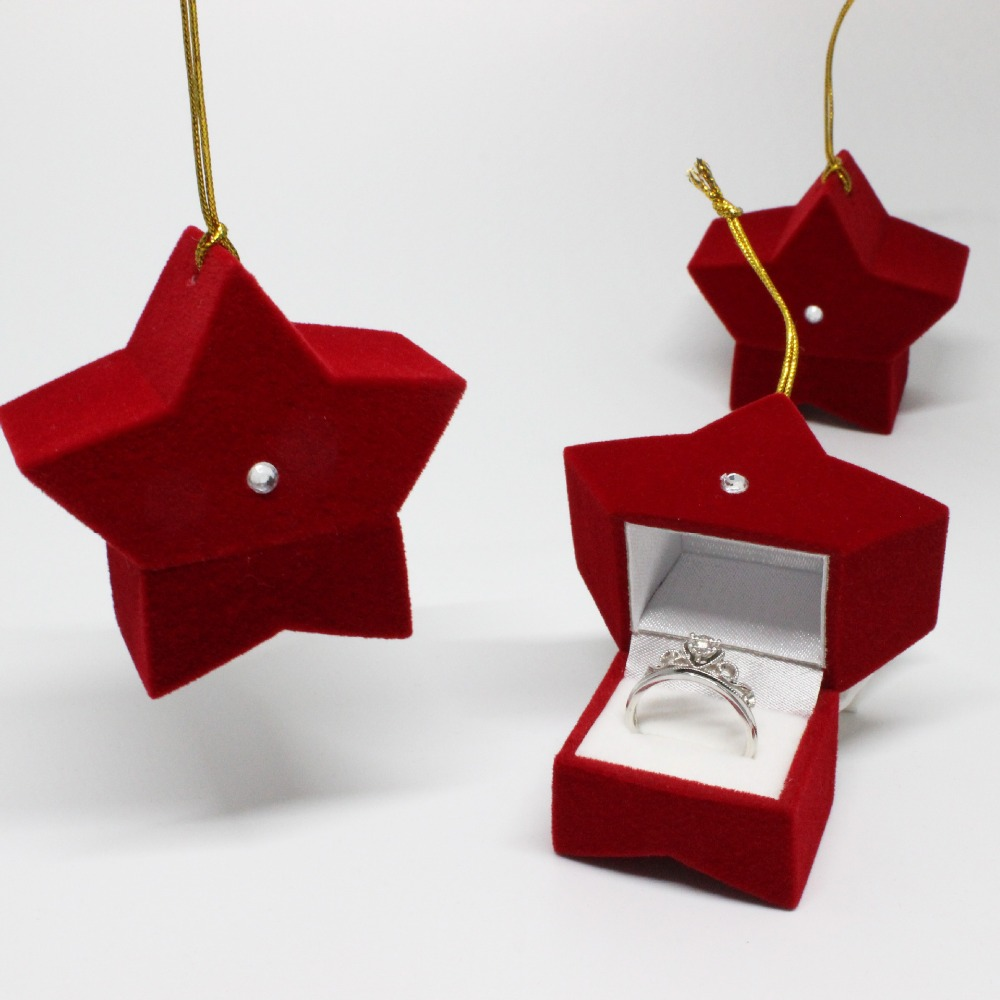 Wholesale 10pcs Red Velvet Wedding Ring Box European Rings Star Box Gift Case Luxury Jewel Case Rings Storage Display Holder