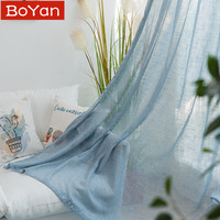 3 Color Solid Blue Flax Yarn Linen Tulle Sheer Curtains Yarn Dyed Window Curtains for Living Room Bedroom Kitchen Door Drapes