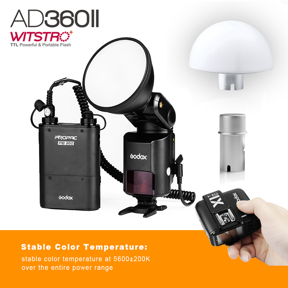 Godox Witstro AD360 II AD360II-C TTL On/Off-Camera Flash Speedlite + PB960 Battery Pack for Canon + Godox X1T-C Wireless Trigger 2pcs godox cells ii 1 8000s wireless transceiver trigger kit for canon eos camera speedlite and studio flashes