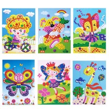 6pcs/Lot Kids EVA Foam Mosaic Stickers toy Art Puzzle DIY Handmade 3D Diamond Pasted Cartoon Character Children Educational Toy