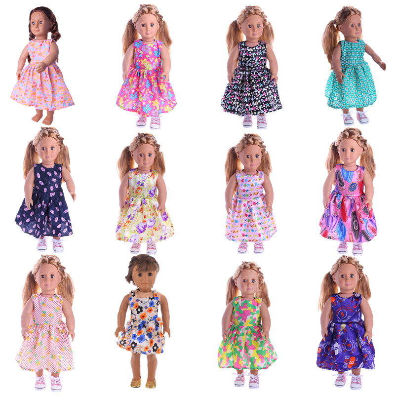LUCKDOLL 12 Colors Princess Dress Fit 18 Inch American 43cm Baby Doll Clothes Accessories,Girls Toys,Generation,Birthday Gift