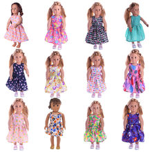LUCKDOLL 12 Colors Princess Dress Fit 18 Inch American 43cm Baby Doll Clothes Accessories,Girls Toys,Generation,Birthday Gift(China)