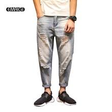 Уличная брюки 2017 новых мужских джинсы рваные джинсы для мужчин свободные проблемные свободные марка дизайнер байкер хип hop джинсовые шаровары брюки