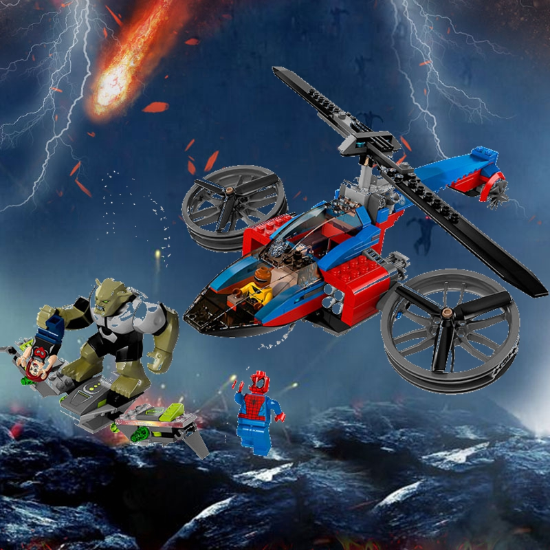 Blocks lis 7106 299pcs Super Heroes Avengers Spiderman Batman Motorcycle Helicopter Building Block Compatible 76016 Brick Toy Toys & Hobbies
