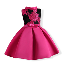10 Years Summer Girls Dress 2018 New Kids Embroidery Flower Party Princess Dresses For Prom Gown Bowknot Children