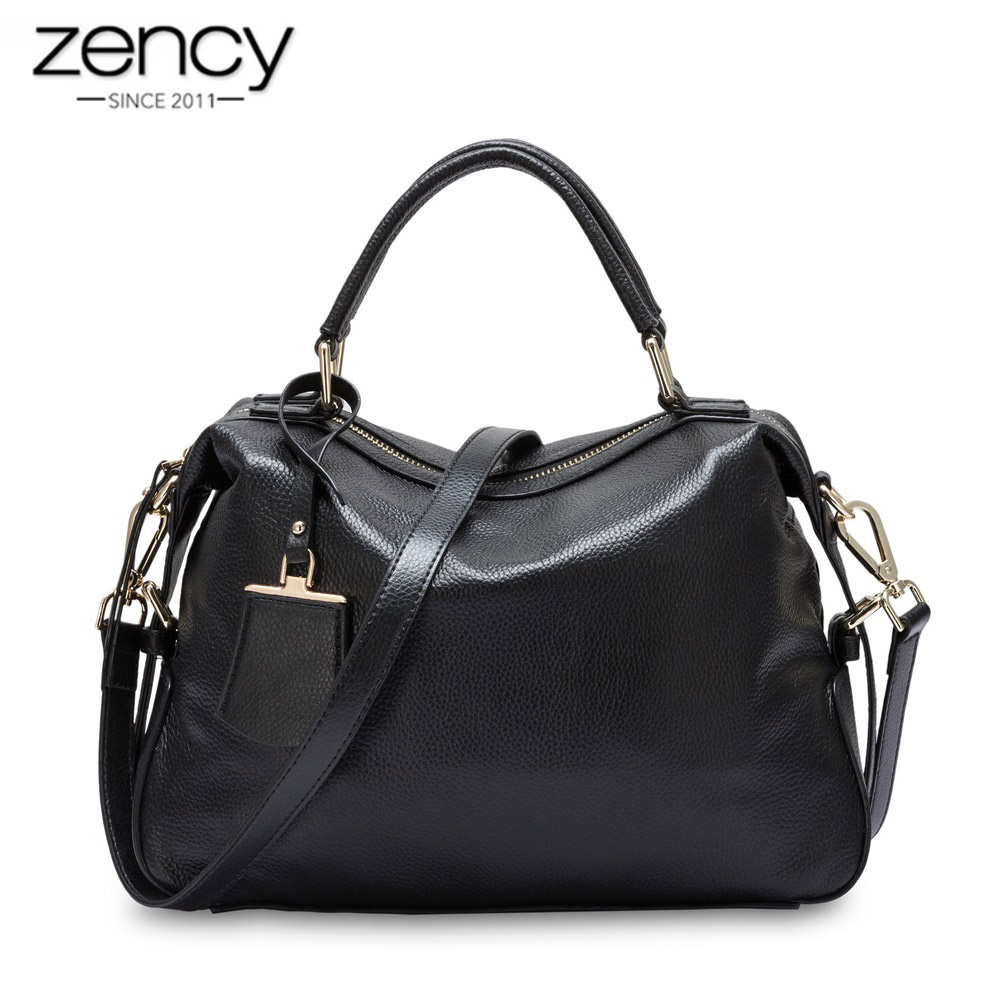Zency New Model 100 Natural Leather Fashion Women Tote Bag Classic Black Charm Boston Handbag Travel