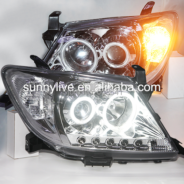 For TOYOTA HILUX VIGO LED Head Light LED Angel Eyes 2004-2010 year Chrome Housing LF 7 inch round chrome led headlight drl 80w hi low beam for for jeep wrangler jk cj tj lj drl super bright motorcycle