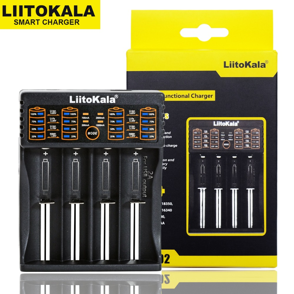 Liitokala Lii-100 Lii-202 Lii-402 Lii-PL4 1.2 V 3.7 V 3.2 V 3.85 V AA 18650 18350 26650 18350 NiMH batteria al litio batteria smart charger