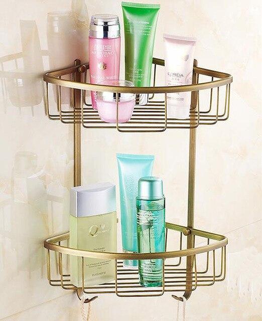1/2 Layer Brass bathroom shelves producks corner rack, Baskt or bar ...