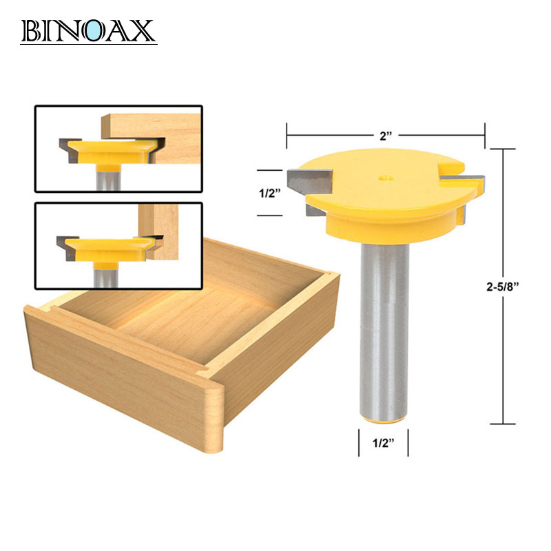 Binoax 1/2'' Shank Drawer Front Joint Router Bit Reversible Woodworking Chisel Cutter Tools binoax 1 2 shank chisel raised panel router bit with backcutter woodwork cutter tools