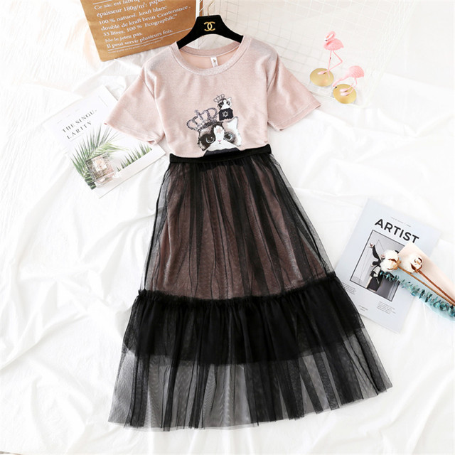 126822e4898e8 US $16.99 49% OFF|2018 New Fashion Spring Women Short Sleeve Dresses Summer  Two Piece Girl Mesh Dress +Midi long Print Cat T shirt Vestidos WZ370-in ...