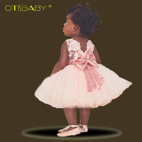 Pierwsze Urodziny Dziewczyna Party Chrzest Chrzciny Suknie Suknie Cekiny Bow Niemowlęta Bebe Niemowląt 1 rok Dziewczynka Letnie Ubrania