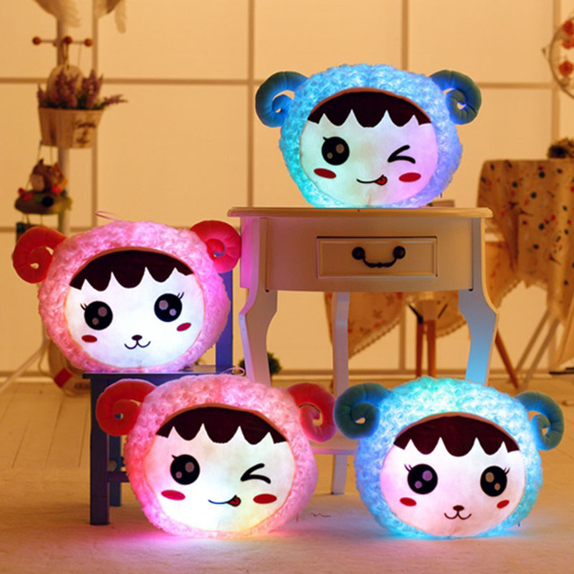 38 см Свет Милые Плюшевые Овец Голову Игрушка Мигает Enoji подушку Чучела Детские Игрушки Световой Красочные Куклы Животных Подарок Для девушка