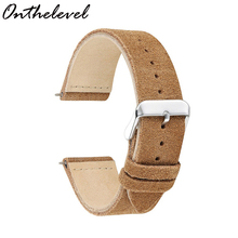 Onthelevel Handmade Watch Strap Band Retro Style Suede Color Double Layer 18 19 20 22 24mm Unisex strap 2018 new