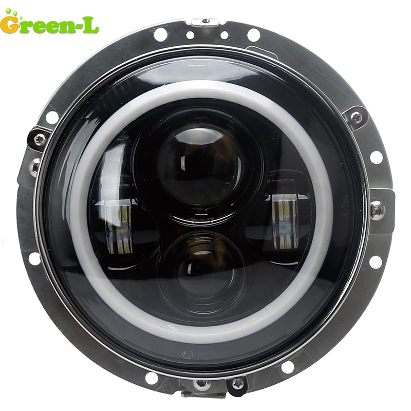 Green L moto headlight 7 inch 52W 3600lm Led Motorcycle headlight for harley scooter headlight With Adapter Ring free shipping
