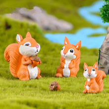 3Pcs Cute Squirrel Fairy Garden Miniatures Mini Animals Mini