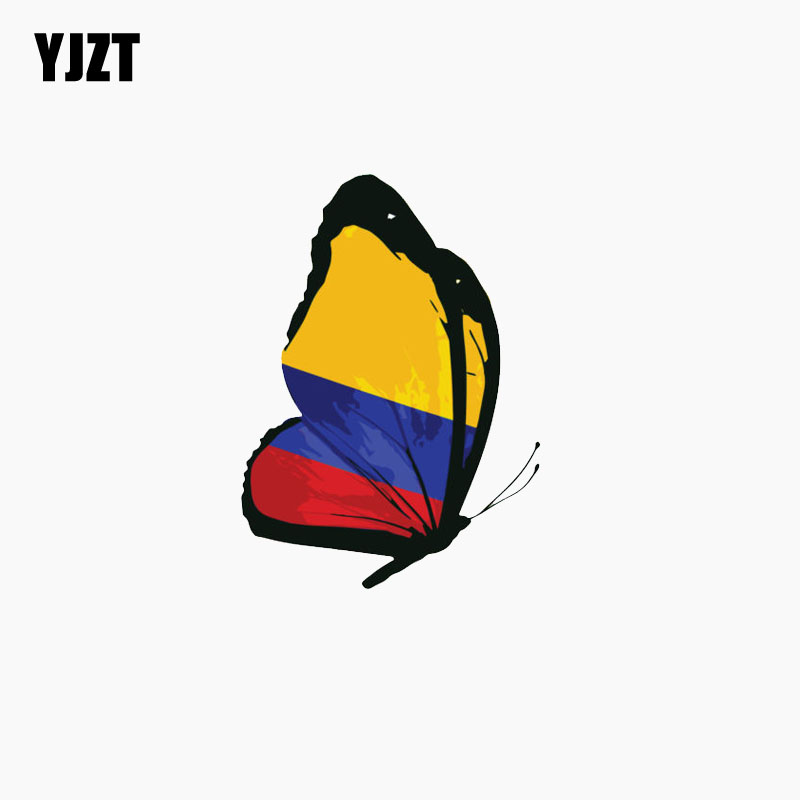 YJZT 8CM*11.2CM Colombia Flag Butterfly  The Tail Of The Car Reflective Decal Personality Car Sticker C1-7783