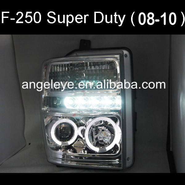 Pour FORD Raptor F250 F350 F450 F550 Super Duty LED phare CCFL Angel Eyes couleur argent 2008-2010 an