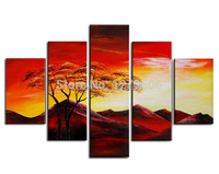Handmade Paintings On Canvas Wall Art Abstract Picture Red Sunset Glow Home Decoration For Living Room