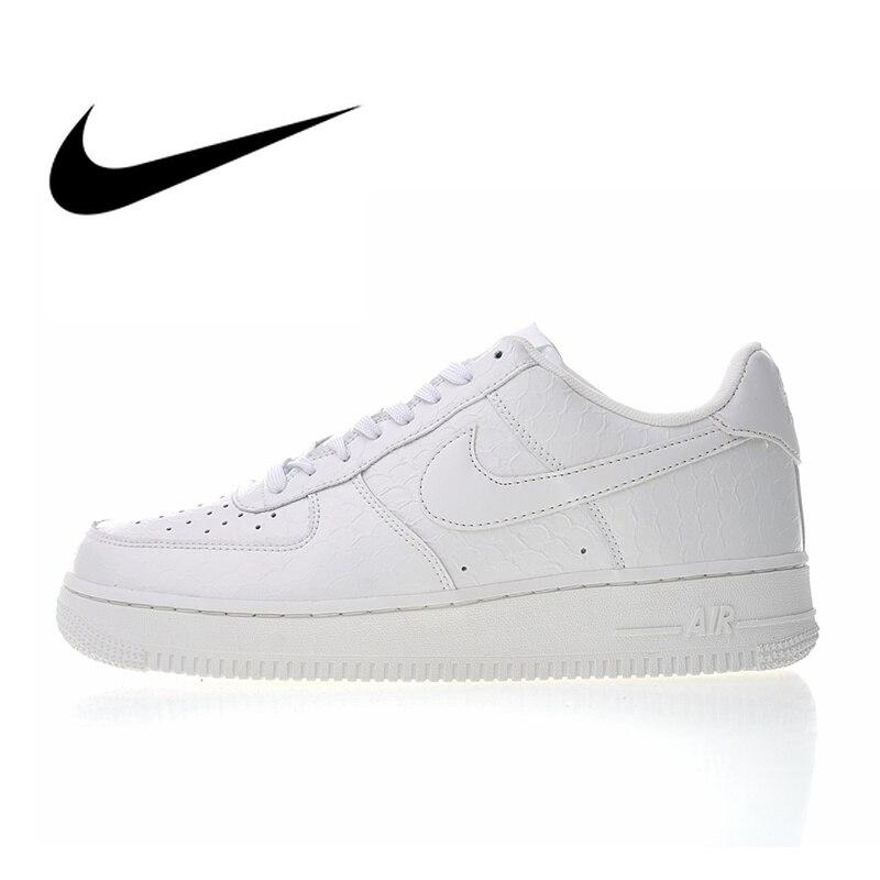 Original authentique Nike Air Force 1 07 LV8 blanc Croc hommes chaussures de skate Sneakers Designer athlétique Anti-glissant 718152