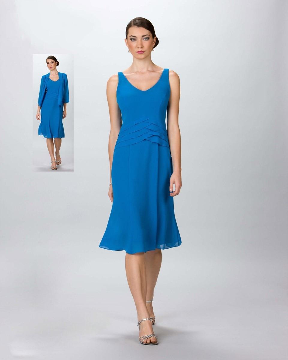 2016 été Designer Mode Couleur Bleu Genou Longueur Mère De La Robe De Mariée Grande Taille Avec Veste En Mousseline De Soie Robe De Soirée De Bal Artisanat D'Art