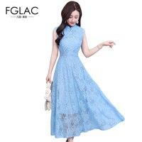 FGLAC Women Dress New 2018 Fashion Casual Sleeveless Lace Dress Elegant Slim Vintage Party Dress High