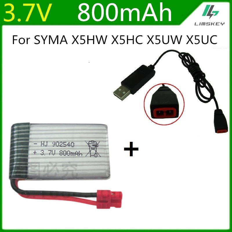 Set Charging Adapter Cable For Syma X5HC X5HW Spare 10pcs Drone Battery Kits
