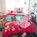 Bear Brown&Bunny Cony bedding set-red duvet cover/bed sheet/pillowcase queen twin double size bed linens,4pcs duvet cover set