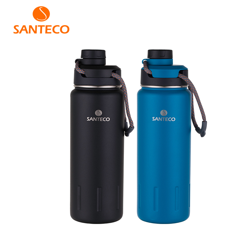 Santeco 710ml Thermos Bottle With Rope Double Wall Stainless Steel Coffee Tea Milk Outdoor Gift Vacuum Bottle