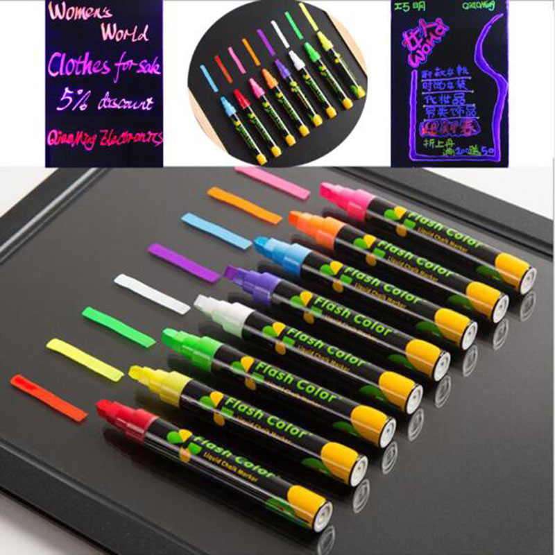 LED Fluorescent Plate Light Pen Rewritable Fluorescent Marker Colored Art Painted 8 Colors On White Board And Blackboard