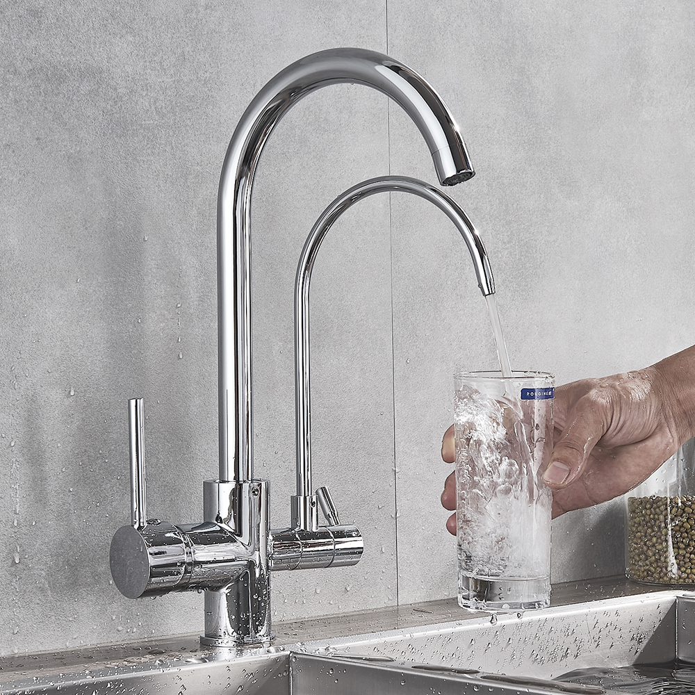 Waterfilter Taps Chrome kitchen faucets Dual Spout Deck Mounted Mixer Tap 360 Degree Rotation Water Purification Feature Crane