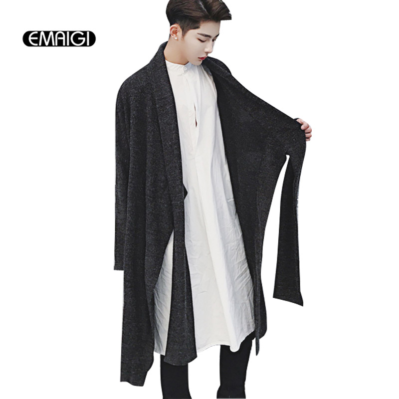 New Mens Knitted Cardigan Coat Oversize Loose Long Sweater Jacket