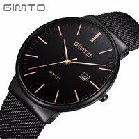 Luxury Brand GIMTO 2017 Fashion Men Dress Watches Black Stainless Steel Waterproof Business Wristwatch Man Ultra
