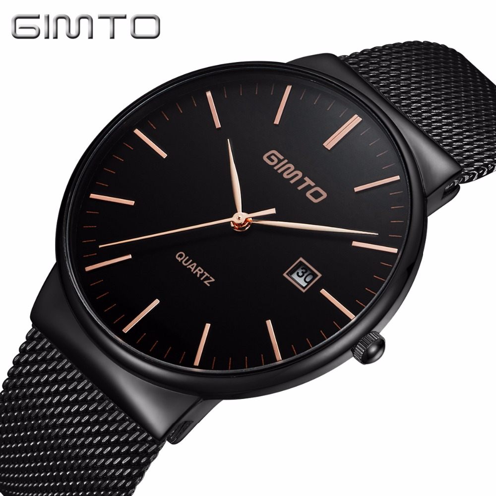 Luxury Brand GIMTO Fashion Men Casual Watches Black Stainless Steel Waterproof Business Man's Wristwatch Ultra Thin Stylish