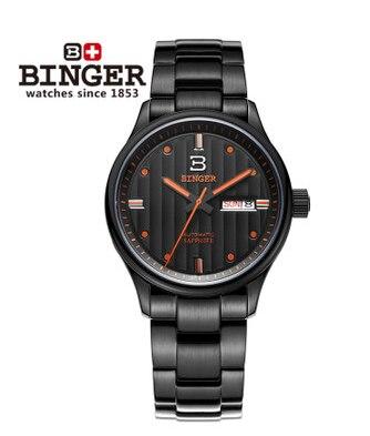 100% Original Binger High Quality Sport Watch Black Steel Quartz Wristwatch 100M Waterproof Watches Men luminous Analog Clock binger 100