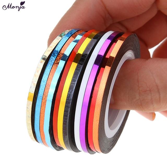 Monja 10pcs 2mm Mix Colors Rolls Metallic Adhesive Striping Tape Wide Line  DIY Nail Art Tips Strip Sticker Decal Decoration Kit d249ffe09418