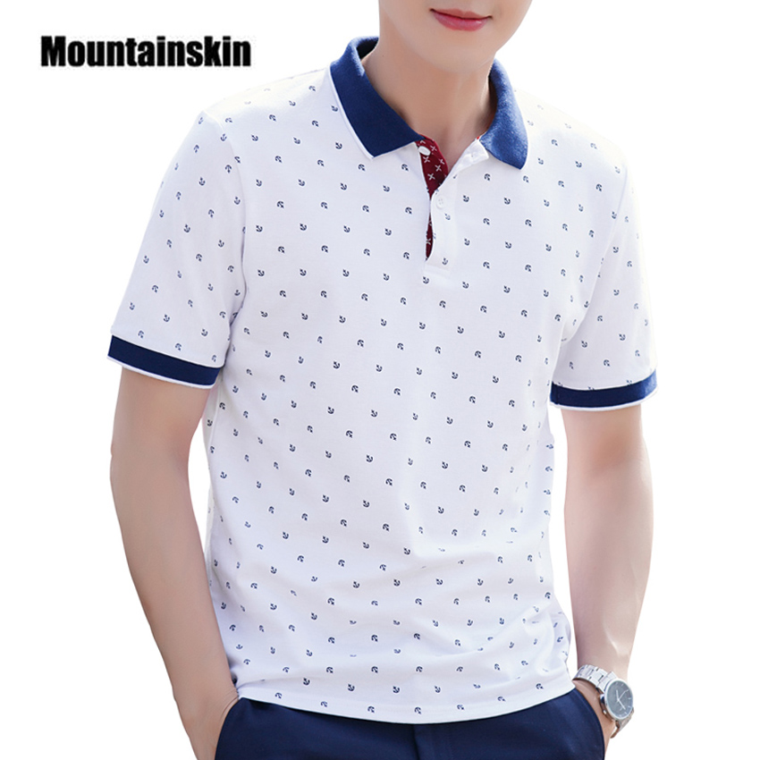 Mountainskin Men's Tops Summer 100% Cotton Printed POLO Brands Short Sleeve Camisas Stand Collar Male Clothing 5XL EDA377
