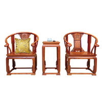 3 Pcs /Set Solid Wood Palace Chair Living Room Chair A High Tea Table 2 Wooden Chairs Antique Hedgehog Rosewood Home Furniture