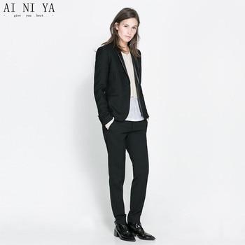 Black Womens Business Suits Female Office Uniform 2 Piece Suits Blazer Elegant Ladies Winter Formal Trouser Suits Custom