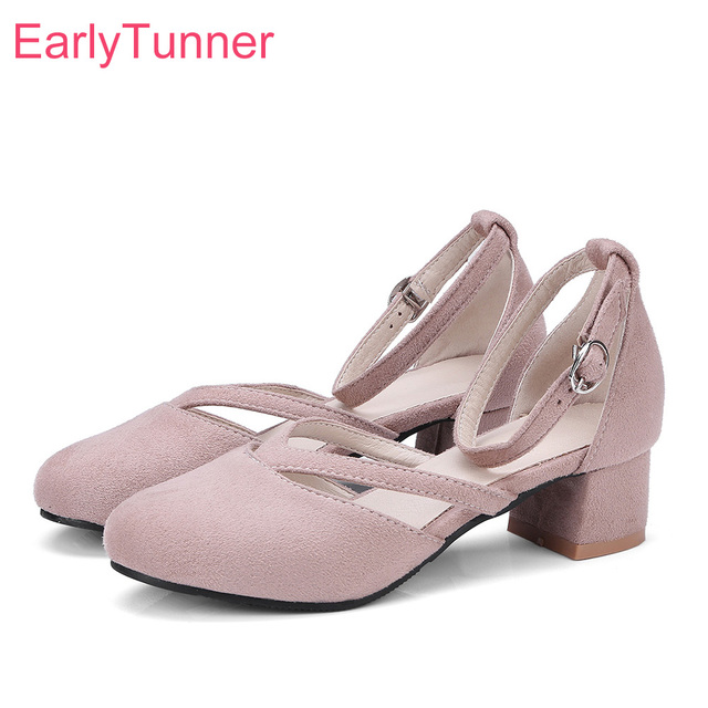 6a8c3c65c4e0 Hot Brand New Summer Sweet Gray Pink Women Casual Nude Sandals Fashion Med  Heels Lady Shoes EP85 Plus Big Small Size 10 30 43 48