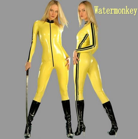 Watermonkey brand Cosplay Halloween Costumes Yellow PVC artificial leather Siamese tight leather Halloween plays casual clothes