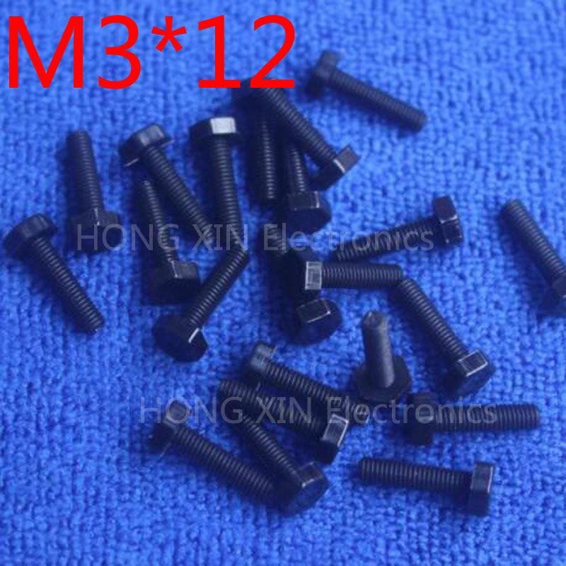 M3 * 12 12mm noir 1 pièces vis hexagonales en nylon boulons d'isolation en plastique attaches marque RoHS conforme PC/conseil bricolage passe-temps vis