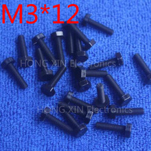 M3*12 12mm black 1pcs Hexagonal nylon Screws plastic Insulation bolts Fasteners brand new RoHS compliant PC/board DIY hobby