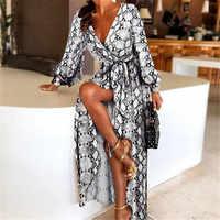 Новые Модные женские сексуальные платья с v-образным вырезом и леопардовым принтом, длинные платья макси с длинным рукавом, женские летние в...