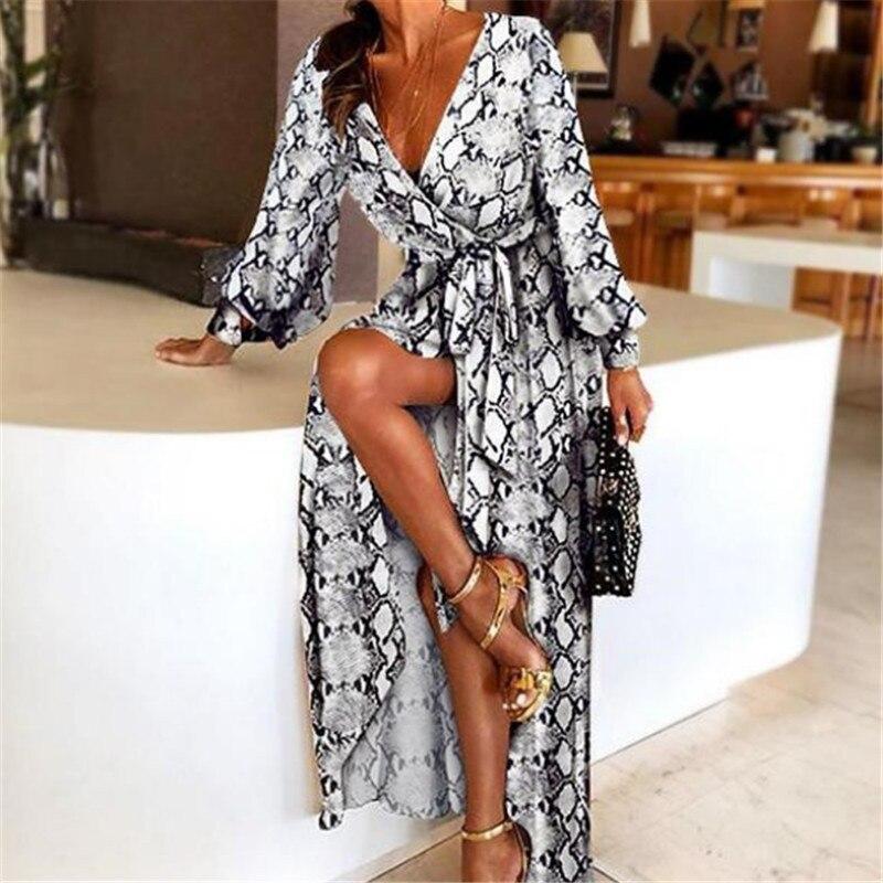 Neue Mode Frauen Sexy V-ausschnitt Leopard Printed Long Sleeve Lange Maxi Kleider Damen Sommer Schlange Haut Druck Party A-Line Kleid