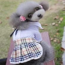 Lapel Pure White Shirt With Bowknot Dog Dresses Clothes Puppy Dog Pet T Shirt Uniform Suit Chihuahua Clothing Garment